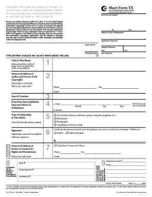 copyright form tx Copyright Form Tx - Fill Online, Printable, Fillable, Blank | PDFfiller