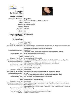 Europass Cv Filable - Fill Online, Printable, Fillable
