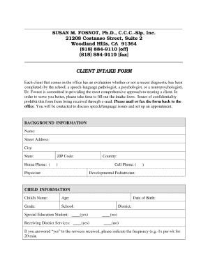 Intake Form For Speech Therapy Fill Online Printable Fillable
