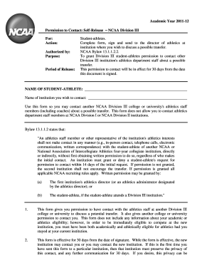 Ncaa Self Release Form - Fill Online, Printable, Fillable, Blank ...