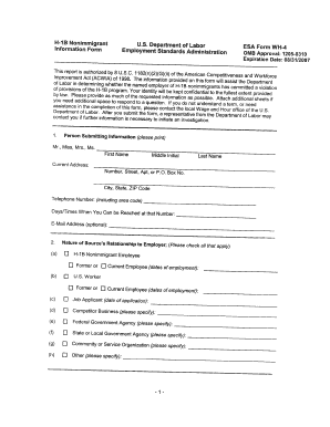 Form Wh 4 H 1b Nonimmigrant Information Fillable Form - Fill ...