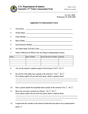 Application for Representative Payee form - Department of Justice - justice