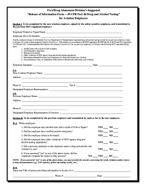 suggested format release of information form 49 cfr part 40 drug and alcohol testing