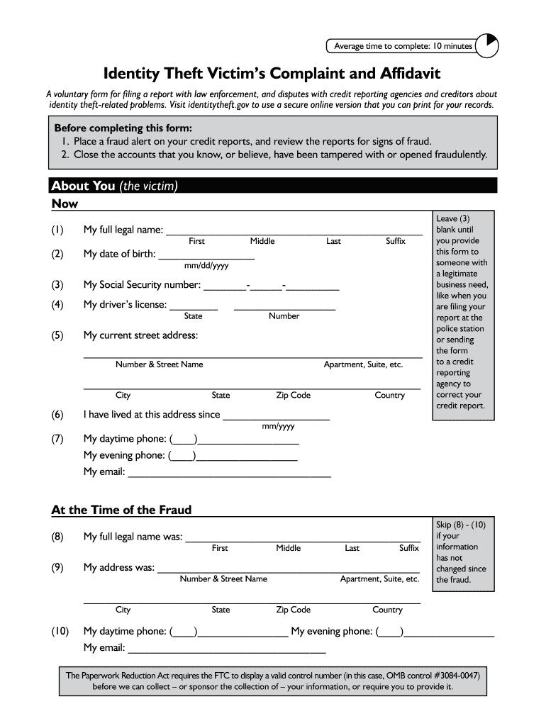 Ftc Identity Theft Affidavit Fill Online Printable