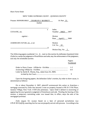 Nys Supreme Court Order To Show Cause Forms For Queens County ...