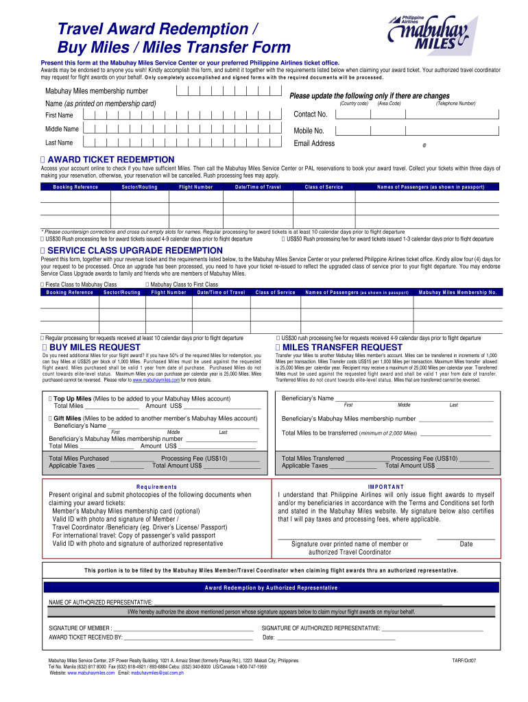 2007 Form Philippine Airlines TARF Fill Online, Printable, Fillable