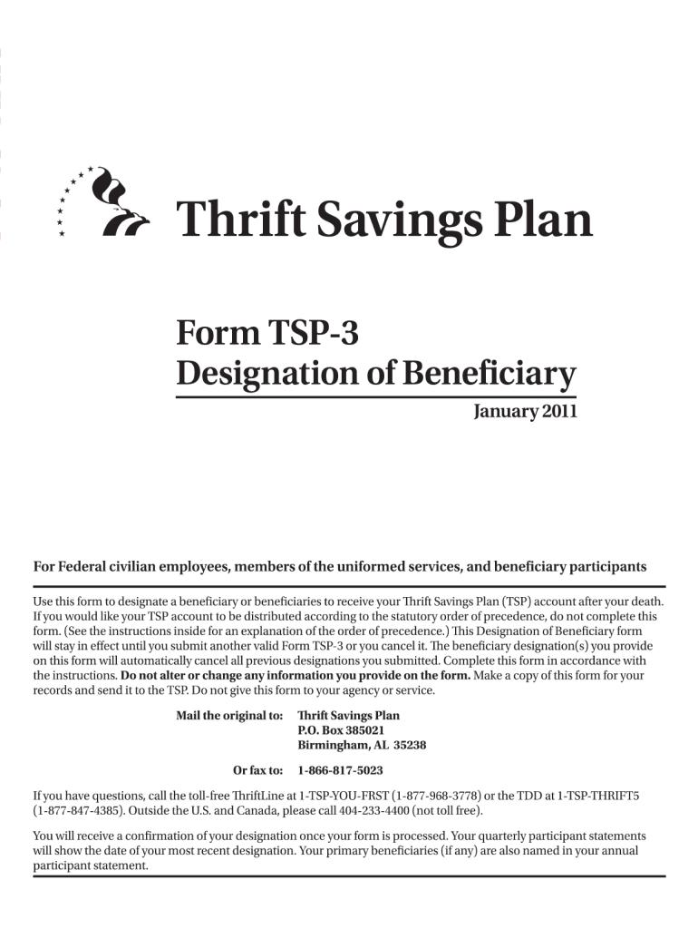 2011-2019 Form TSP-3 Fill Online, Printable, Fillable, Blank - PDFfiller