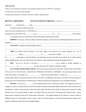 Sc residential rental agreement fillable form