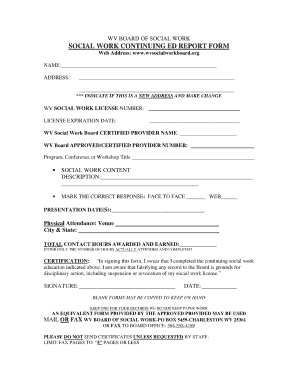 wv social work board reporting form