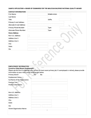 sample application for examiner form