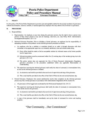 peoria police department policy and procedure manual form