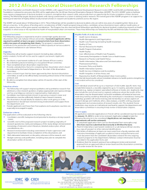 african doctoral dissertation writing fellowship 2012