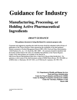 guidance for industry manufacturing processing or holding active pharmaceutical ingredients
