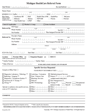 Michigan Healthcare Referral Form - Fill Online, Printable ...