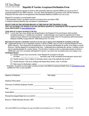 Hepatitis B Vaccine Declination Form - Fill Online, Printable ...