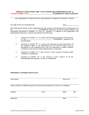 vacate easement cover letter form