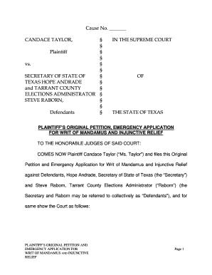 Texas Emergency Writ Of Mandamus - Fill Online, Printable ...