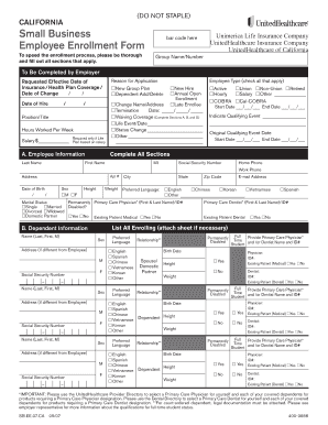 United Healthcare Fillable Employee Enrollment Form - Fill Online ...