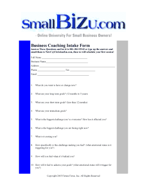 small business coaching intake form