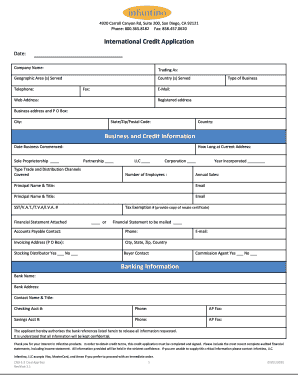 international credit application form