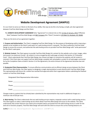 time website development agreement sample form