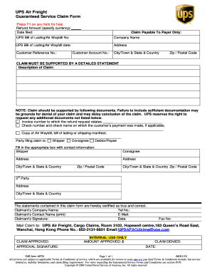 Ups Claim Form - Fill Online, Printable, Fillable, Blank | PDFfiller