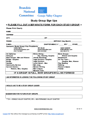 Sign up sheet fillable form
