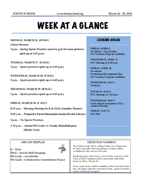 a week at a glance form