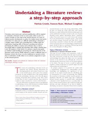 article by patricia cronin undertaking a literature review; a step by step approach summary form