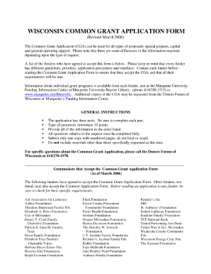 Wisconsin Common Grant Application