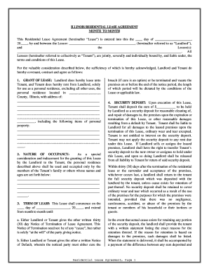 illinois residential agreement form