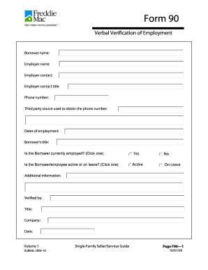 Verbal Verification Of Employment Form