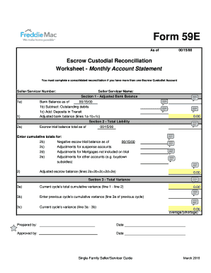 escrow reconciliation form fill online printable fillable blank