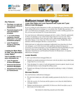 fannie mae balloon note mortgage rider no reset form