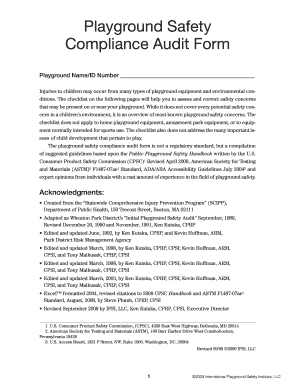 2008 Gsa Playground Safety Complaince Audit Form Fill