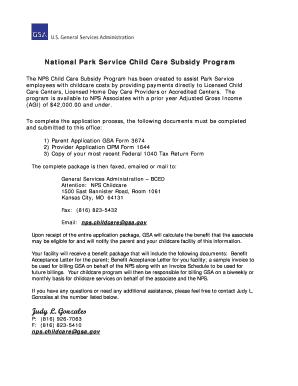 National Park Service Child Care Subsidy Program   Gsa