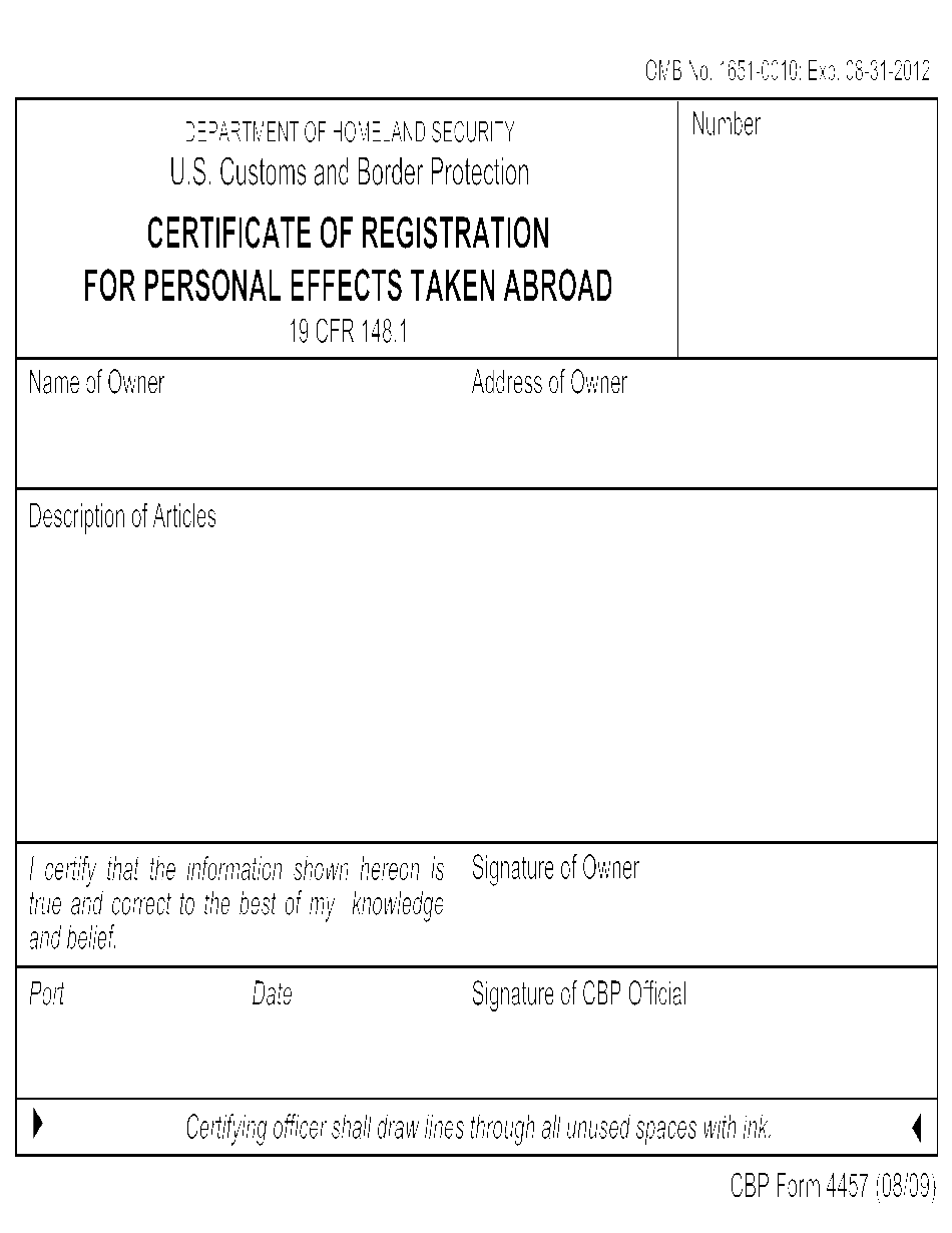 cbp form for personal effects