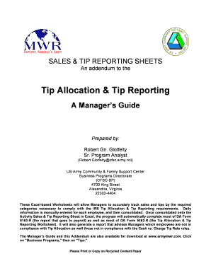 tip reporting sheet form Fill Online, Printable, Fillable, Blank