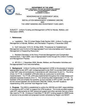 army memorandum of agreement format Success