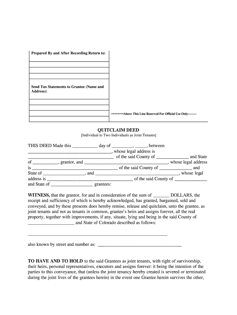 quit claim deed form colorado  Quit Claim Deed Colorado - Fill Online, Printable, Fillable ...