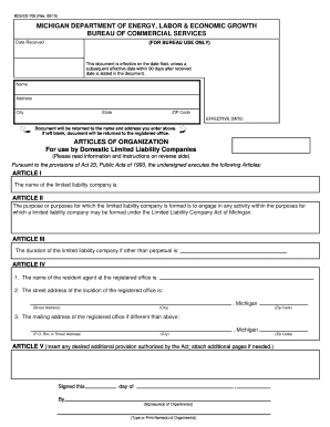 Fillable Online Michigan Articles of Organization for Domestic ...