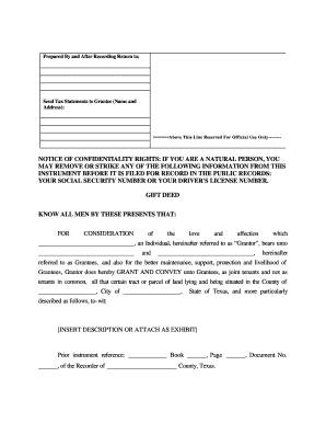 Texas Gift Deed For Individual To Individual - Fill Online ...