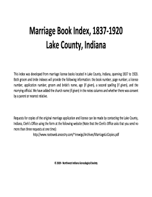 marriage book index lake county indiana