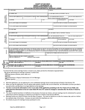 san diego non clergy marriage certificate application form