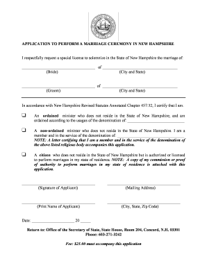 application to perform a marriage ceremony in new hampshire