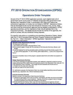 law enforcement operations order form