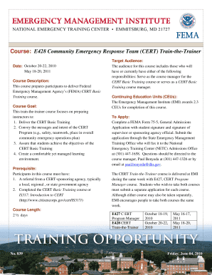 E428 community emergency response team (cert) train-the