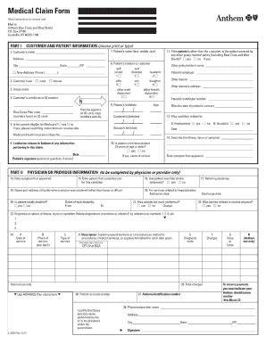 medical claim form blue cross blue shield Templates - Fillable ...
