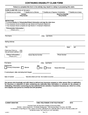 Aflac Continuing Disability Forms - Fill Online, Printable ...