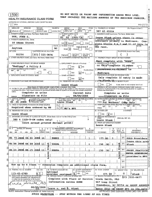 Health Insurance Claim Form - Fill Online, Printable, Fillable ... on agreement form pdf, orthopedic health history form pdf, us passport application form pdf, hcfa 1500 pdf, lyft inspection form pdf,